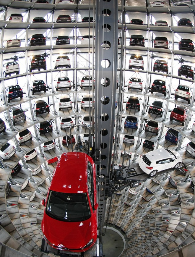 New Volkswagen cars are stored at Car storage Towers at Volkswagen plant in Wolfsburg
